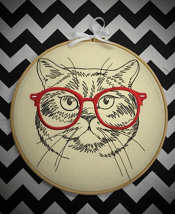 "Hipster Cat 9"" embroidered wall art"
