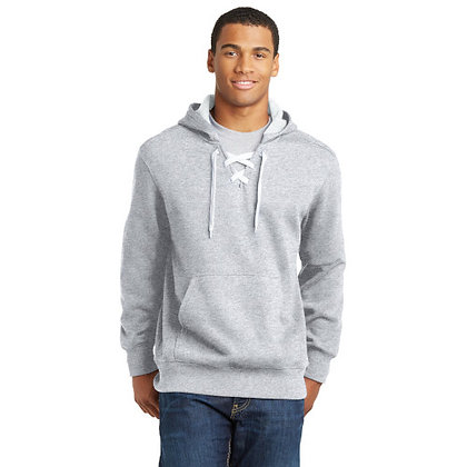 Sport-Tek® Lace Up Pullover Hooded Sweatshirt-Athletic Heather