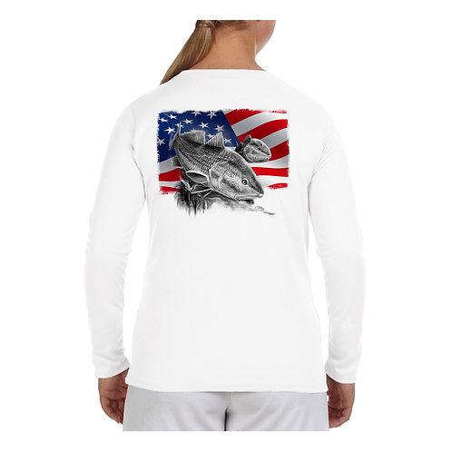 USA Flag Redfish Performance Shirt