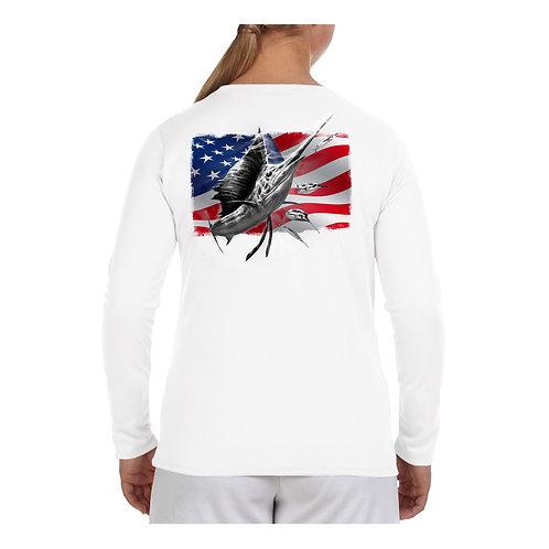 USA Flag Sailfish Performance Shirt