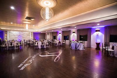 Up Lighting Monogram wedding arrangement