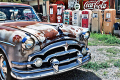 Packard Car with Coca Cola Sign