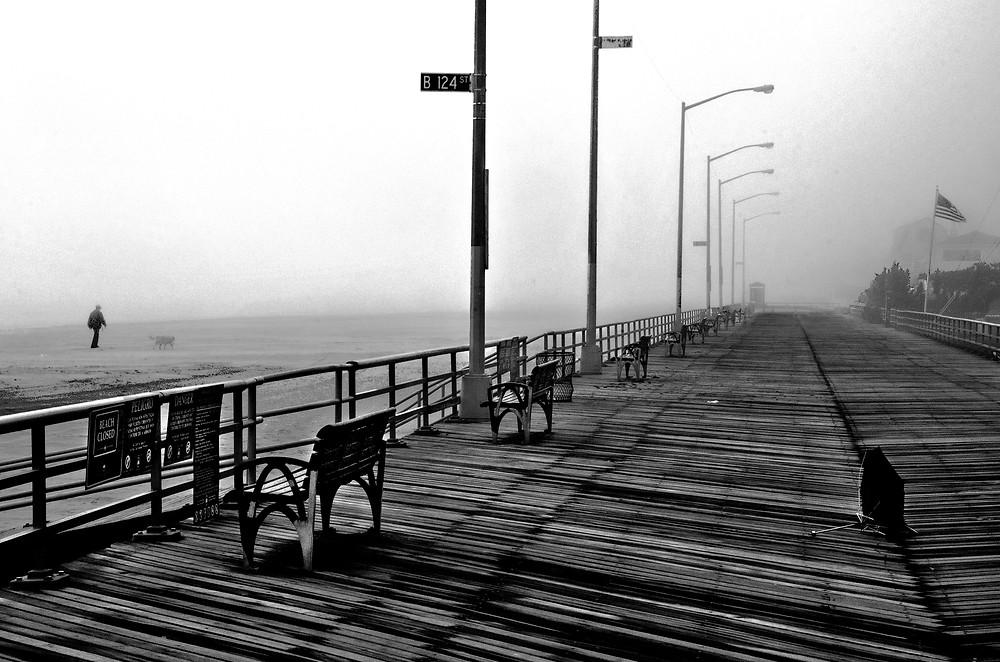 Beach and Boardwalk  BW