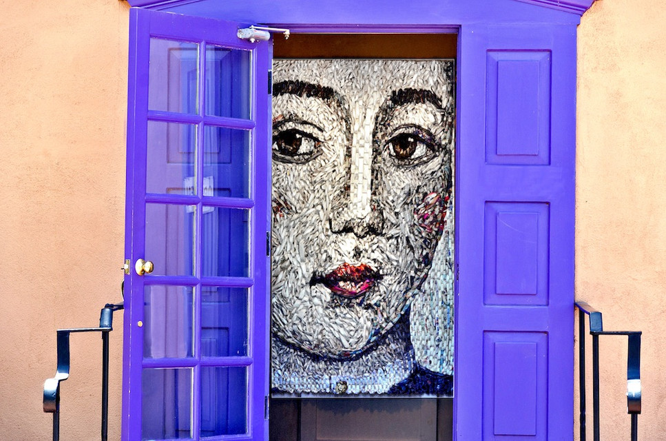 Lady Through Purple Doors