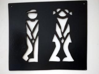 Plaque déco en métal pour les toilettes HUMOUR