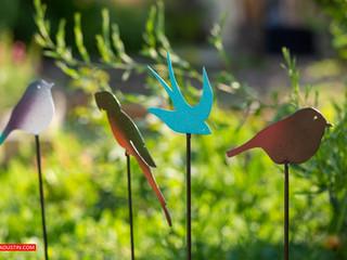 Déco en métal, les oiseaux au jardin PIQUE-EN-TERRE