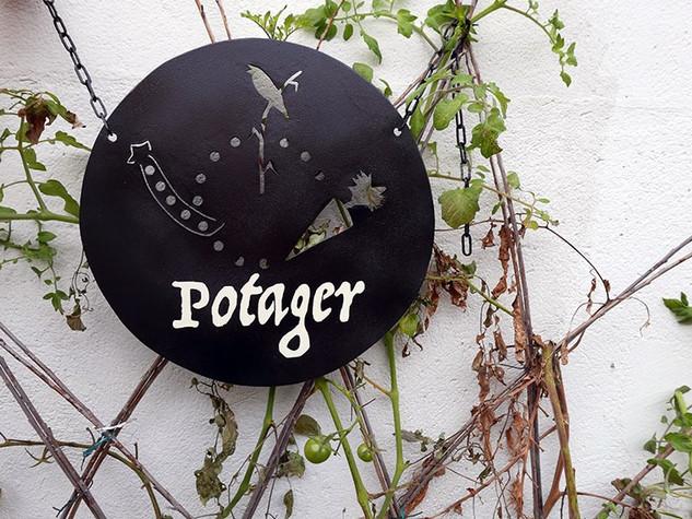 Déco habillage de jardin en métal plaque POTAGER