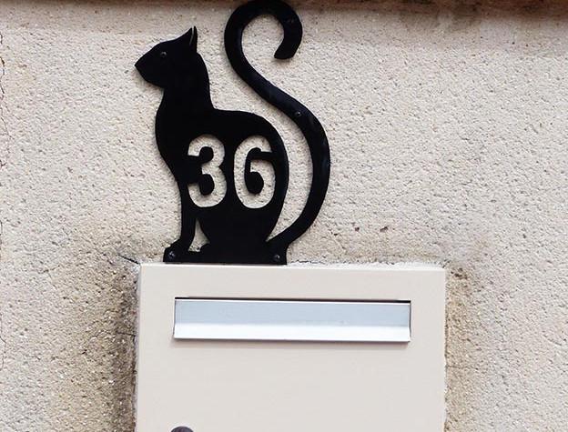 Plaque personnalisée numéro de maison CHAT
