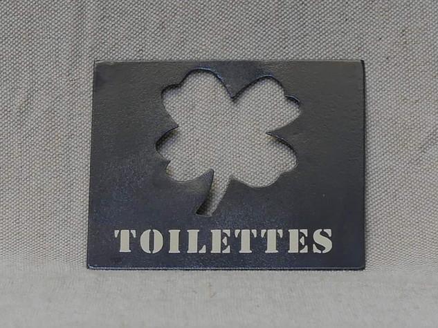 Plaque déco en métal pour les toilettes TRÈFLE