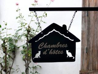 Enseigne à l'ancienne en métal CHAMBRES D'HÔTES CHAT