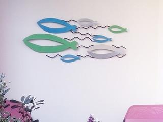 Décoration murale personnalisée en métal BANC DE POISSONS
