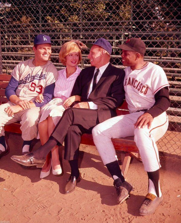 Don Drysdale, Donna Reed, Leo Durocher, and Willie Mays
