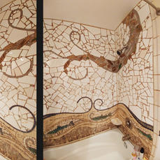 Wild Salmon Run Bathroom Mosaic