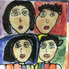 Family Portrait Hand Painted Tile