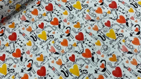 Hearts & Cats Coral (per m)
