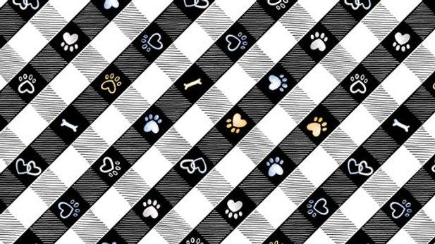 Think Positive Puppy Lane Plaid Black (per m)