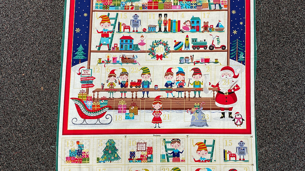 'Santa's Workshop Advent Calendar' Fabric Panel