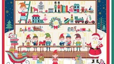'Santa's Workshop Advent Calendar' Fabric Panel