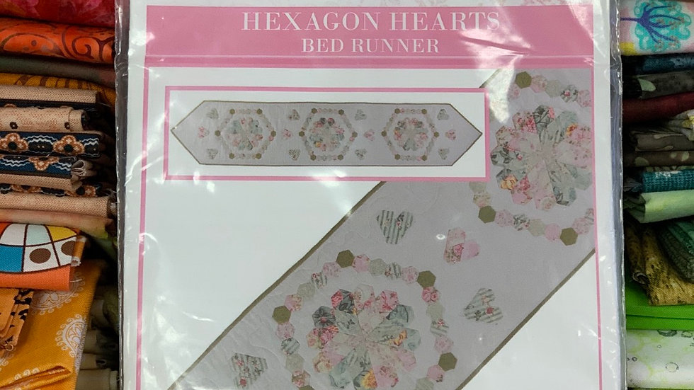 'Hexagon Hearts' Bed Runner - Sue Daley Designs
