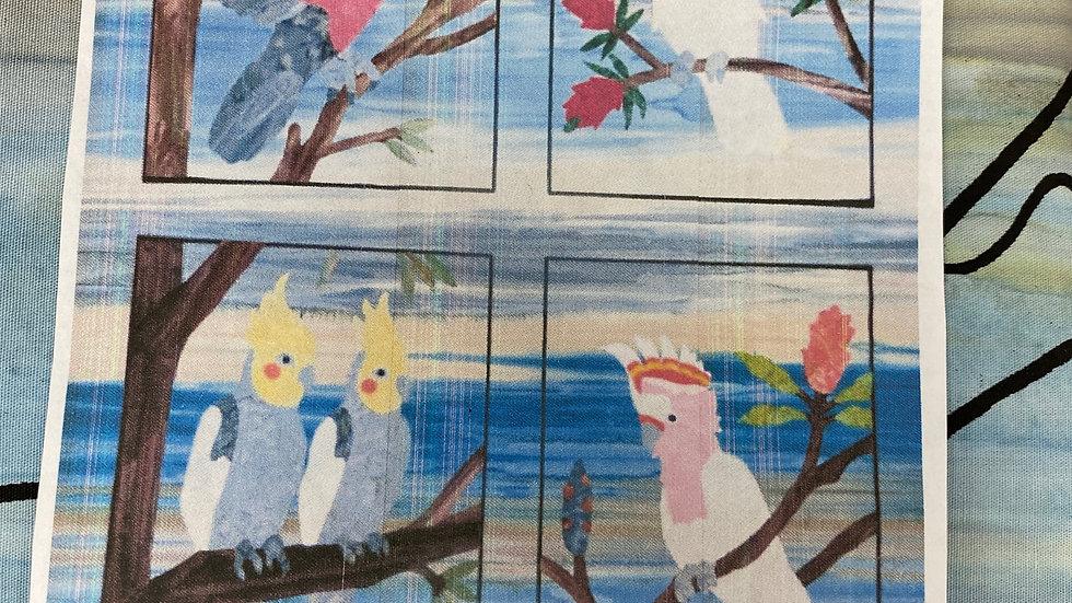 'Cockatoo & Galahs' Fabric Panel
