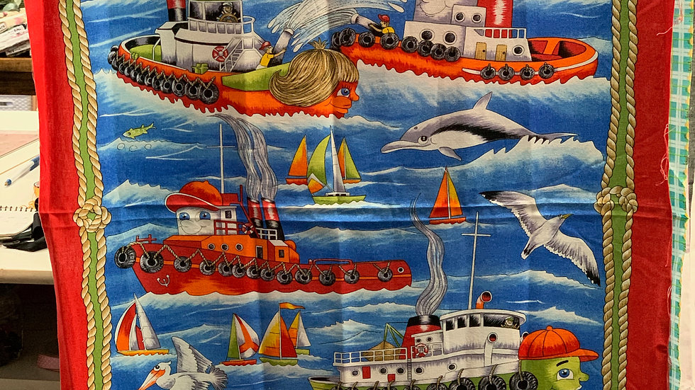 'Tug Boat' Fabric Panel