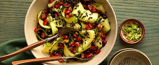 Ribboned Zucchini Salad with Lentils and Turmeric Dressing