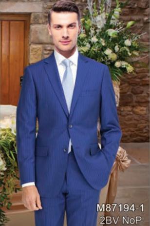 Ink Blue Stripe Full Suit 100% Wool