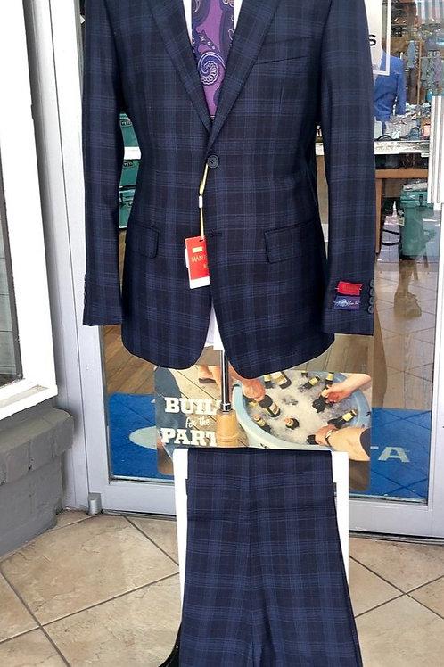 Ink Blue Plaid Full Suit 100% Wool