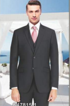 Solid Black Suit Seperate Poly-Rayon