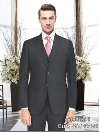 Solid Charcoal Full Suit Poly-Rayon