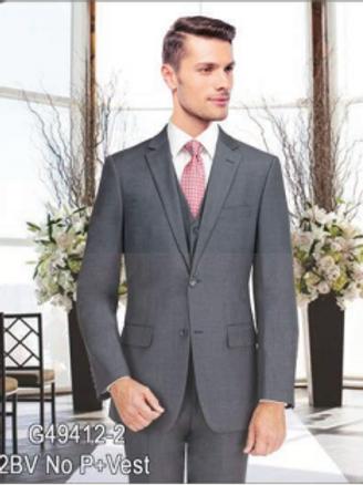 Medium Grey Full Suit Poly-Rayon