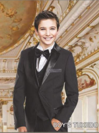 Boys Solid Black 2 Buttons Tuxedo + Vest Poly Rayon