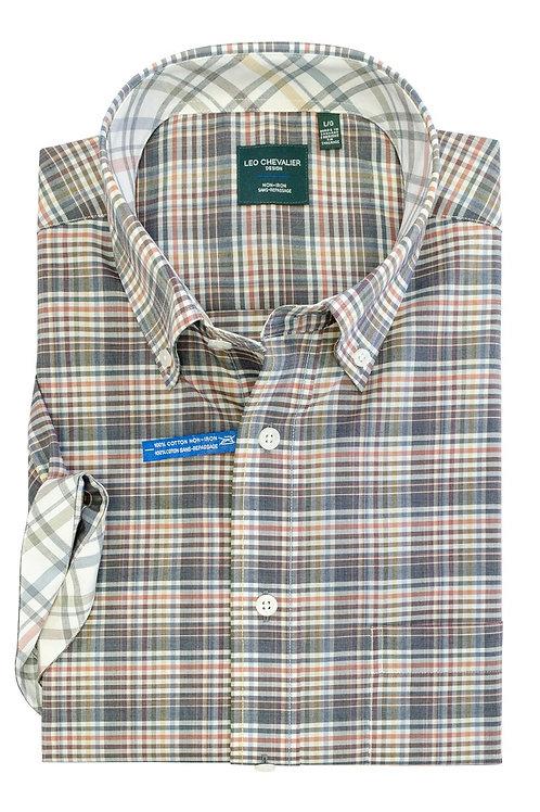 100% Cotton Non-Iron Print Spread Collar Short Sleeve Sport Shirt