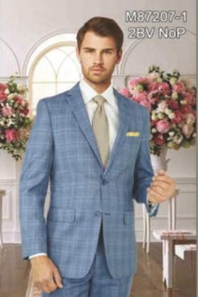 Light Blue Plaid Full Suit 100% Wool