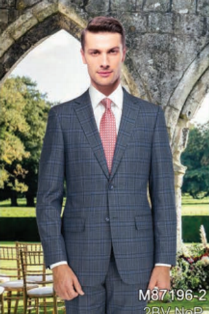 Dark Grey Windowpane Full Suits 100% Wool