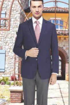 Solid Navy Suit Seperate Poly-Rayon