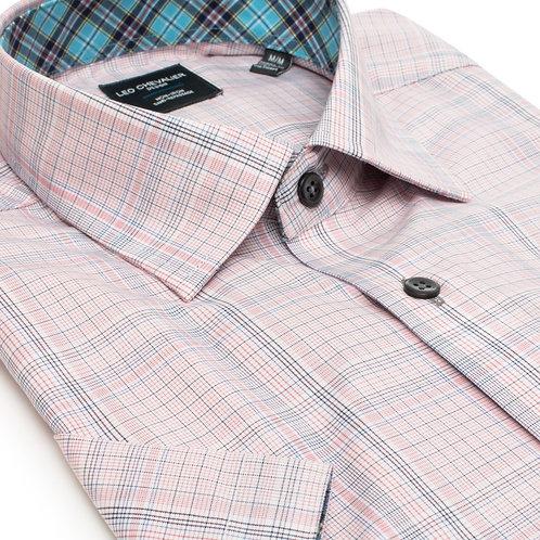 100% Cotton No Iron Hidden Button Down Collar Short Sleeve Sport Shirt