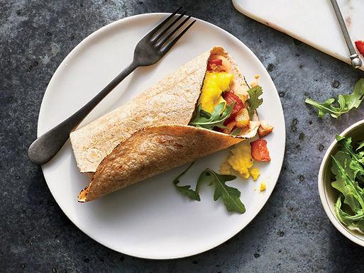Bacon, Arugula Egg Wraps