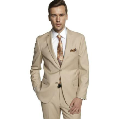 New Beige Full Suit Poly-Rayon