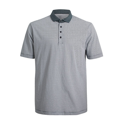 Men's Short Sleeve Printed Polo with contrast collar