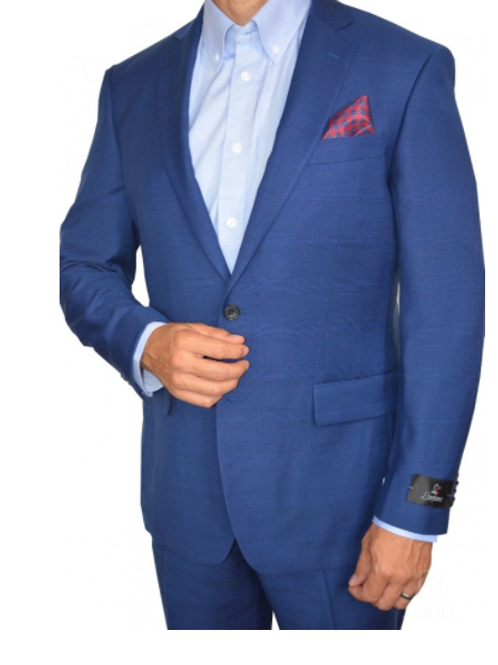French Blue Glencheck 2-Pc Full Suit Classic Fit