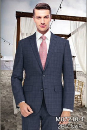 Navy Modern Pattern Full Suit 100% Wool
