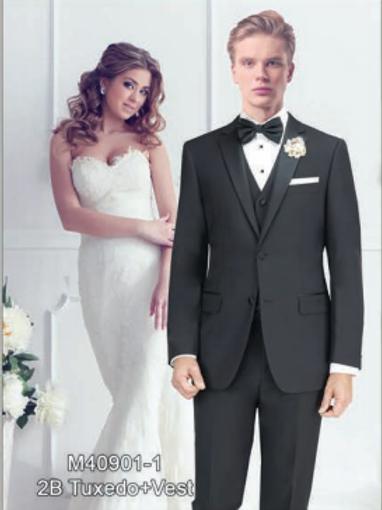 Solid Black Tuxedo Suit Seperate 100% Wool