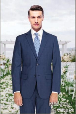 Navy Minicheck Plaid Full Suit 100% Wool