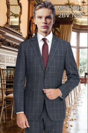 Charcoal Blue Windowpane Full Suit 100% Wool