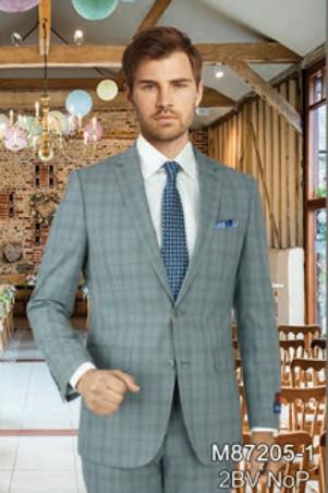 Light Grey Blue Plaid Full Suit 100% Wool