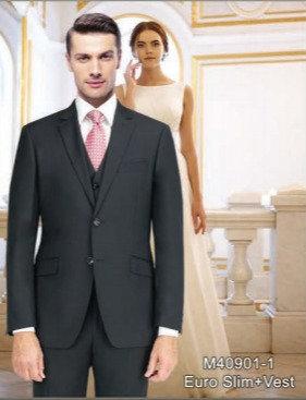 Solid Black Suit Seperate 100% Wool