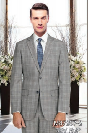 Taupe Plaid Full Suit 100% Wool
