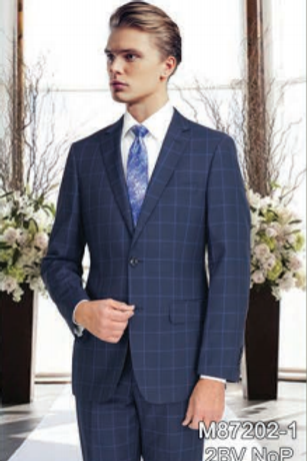 Midnight Blue Windowpane Full Suit 100% Wool