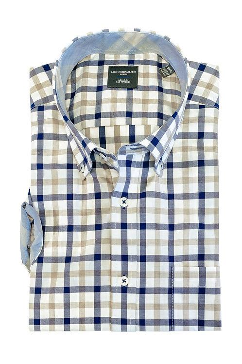 100% Cotton No Iron Button Down Collar Short Sleeve Sport Shirt